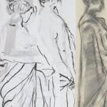 Les Trois Graces  photo d'après mes dessins sur papier marouflé sur bois 16 x 20 pces